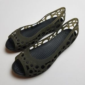 Crocs Adrina Flats Cut Out Slip On Shoes Size 9